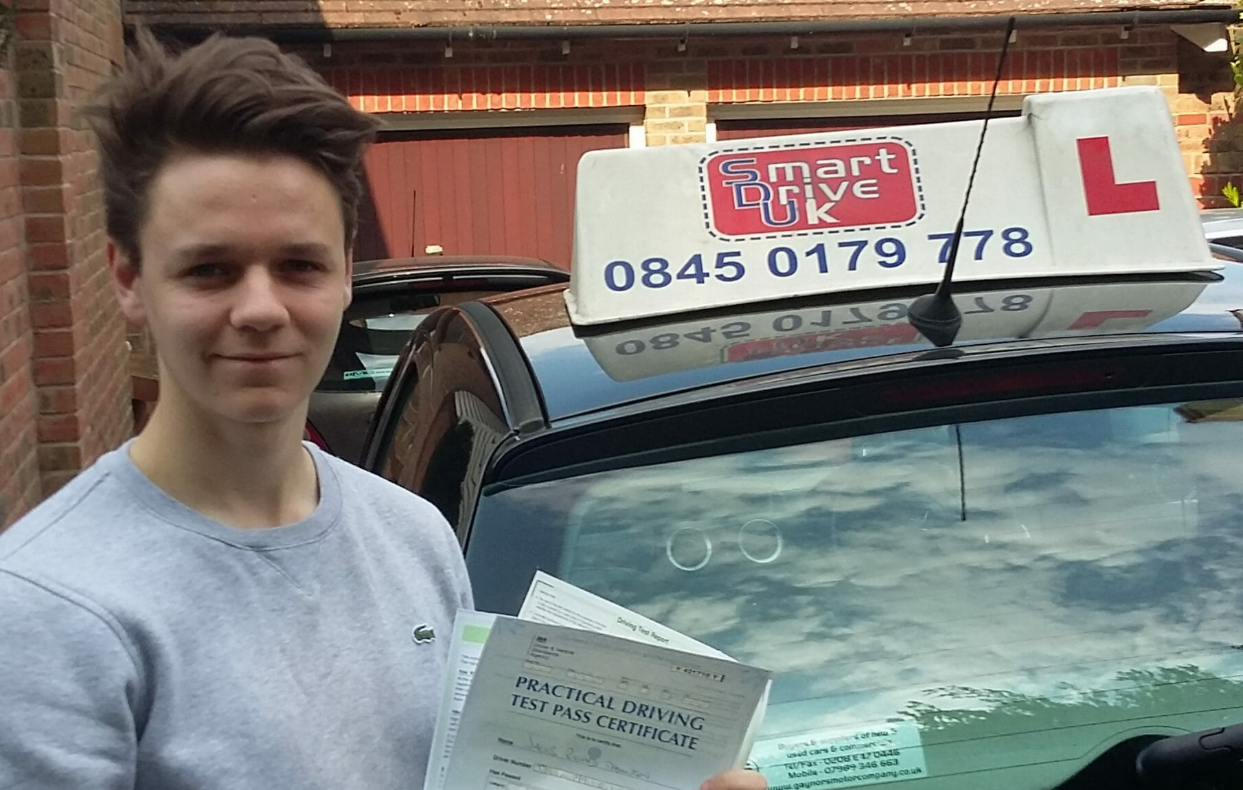 Driving Test Pass. Well done to Jacob Thompson of Worthing.