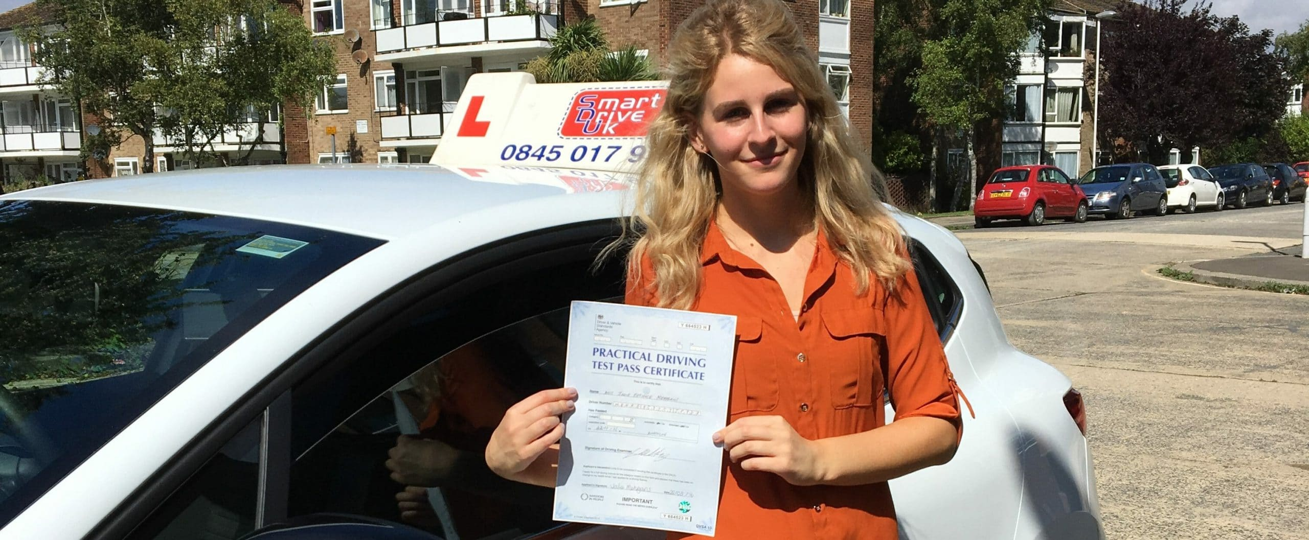 Congratulations to Jodie who passed her driving test in Worthing