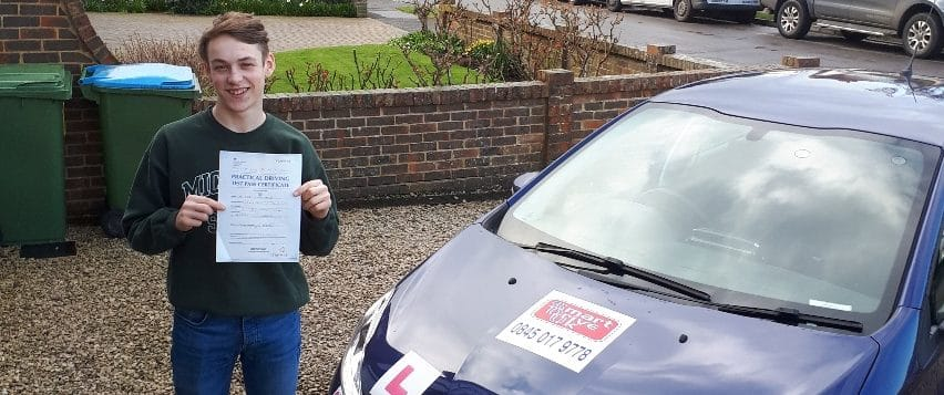 First Time Pass!! Well done to James Waller of East Preston Nr. Worthing